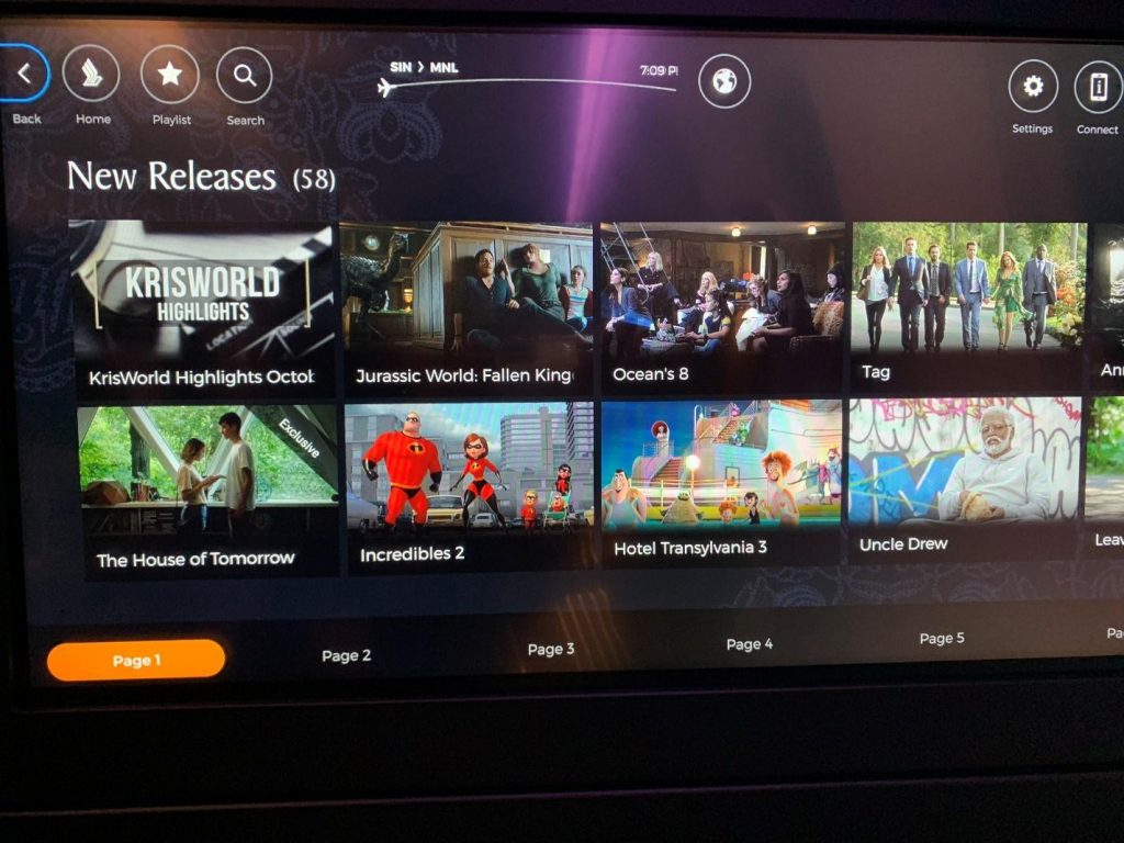 Singapore Airlines Business Class Seat Inflight Entertainment