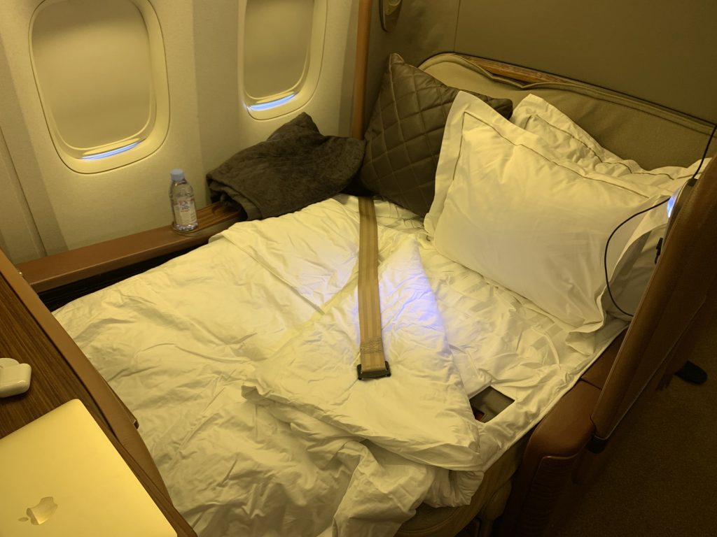 Singapore Airlines First Class Seat Lay flat mode