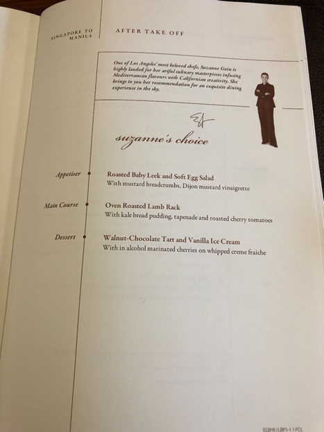 Singapore Airlines First Class Menu 1