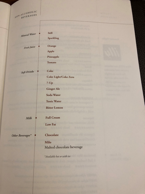 Singapore Airlines First Class Menu 10