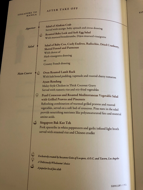 Singapore Airlines First Class Menu 2