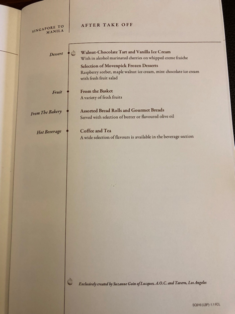 Singapore Airlines First Class Menu 3