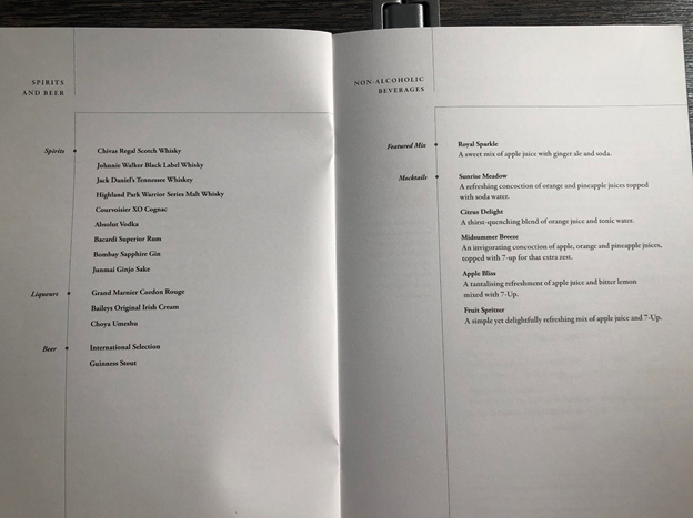 Singapore Airlines Business Class Menu 4