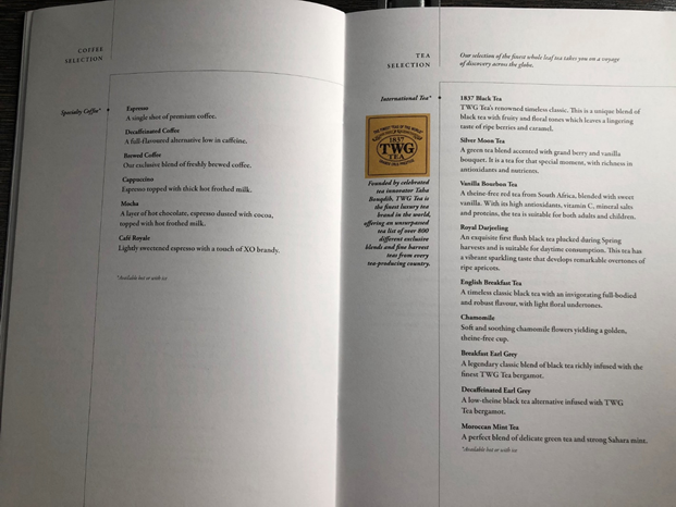 Singapore Airlines Business Class Menu 5