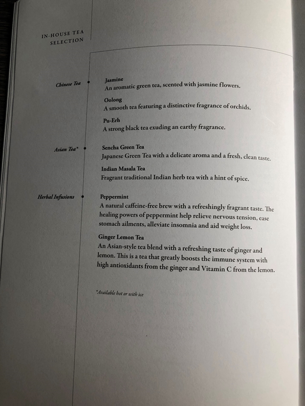 Singapore Airlines Business Class Menu 6
