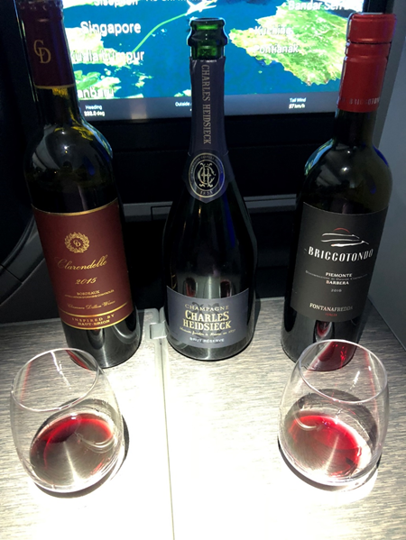 Singapore Airlines Business Class Wine Selection