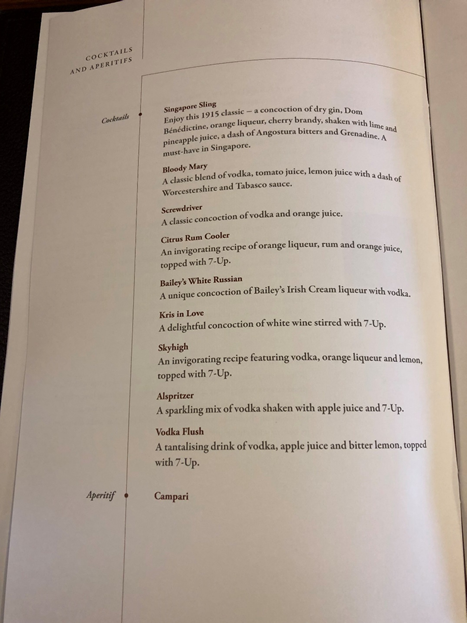 Singapore Airlines First Class Menu 7