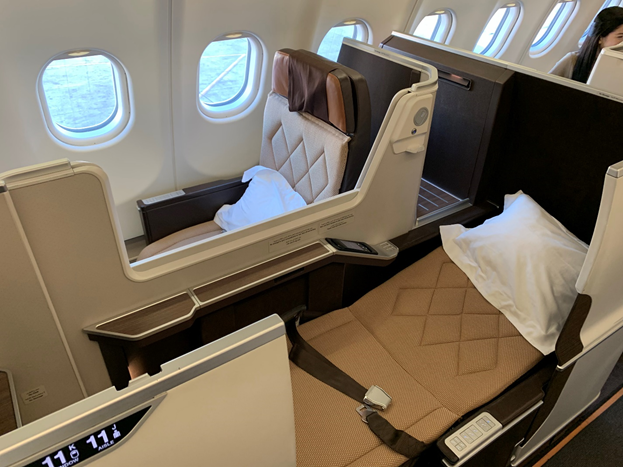 Oman Air Business Class Seat Lay flat mode