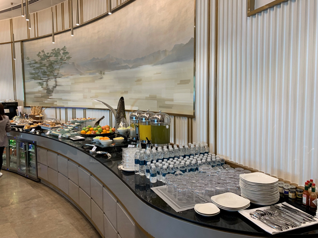 Business and First-Class Lounge Buffet Table