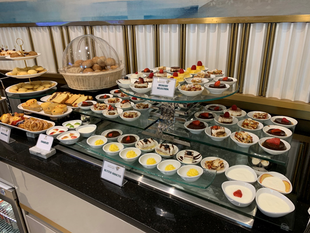Business and First-Class Lounge Desserts Selection