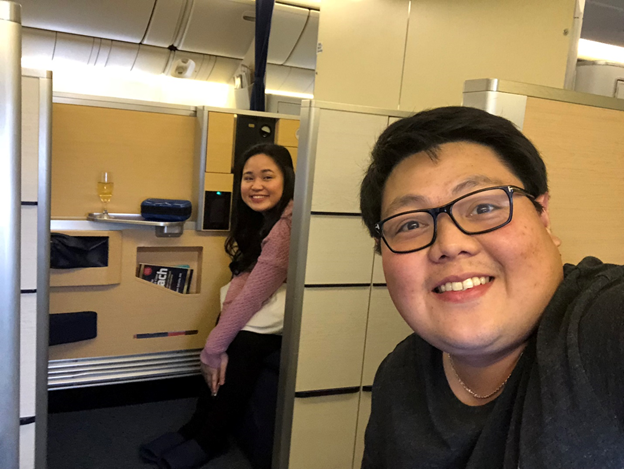 My wife and I in ANA First Class