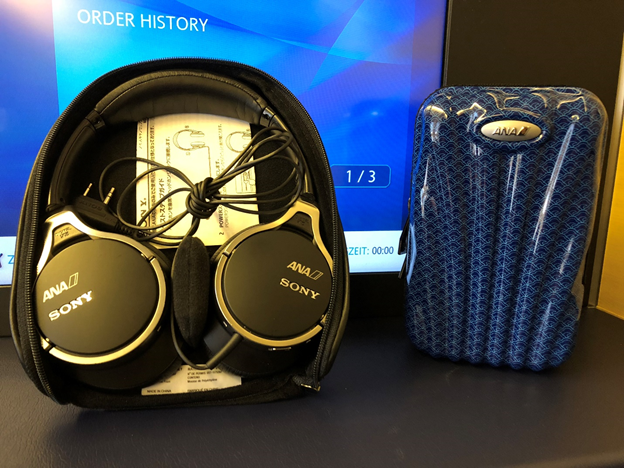 ANA First Class Headphones and Amenity Kit