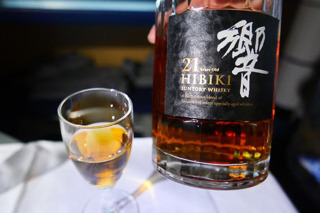 Glass of 21 year old Hibiki Suntory Whisky