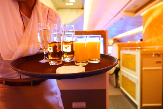 Emirates Business Class Welcome Drinks