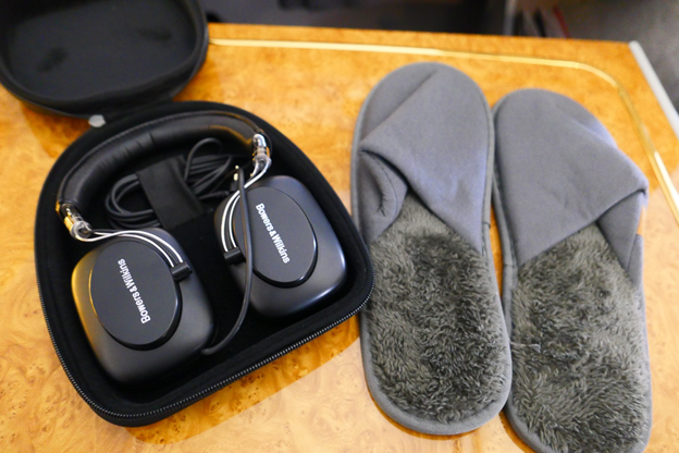 Emirates First Class Headset and Slippers