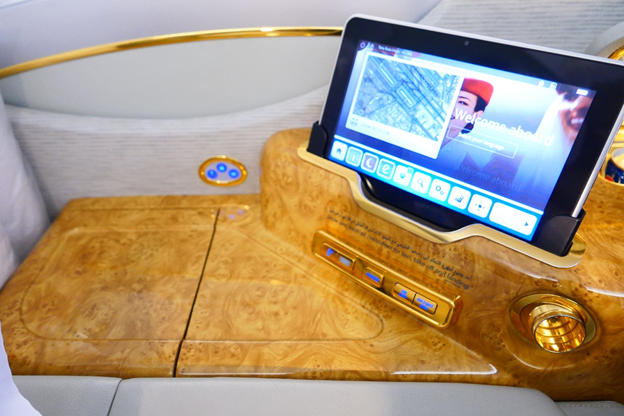 Emirates First Class Seat COntol Tablet