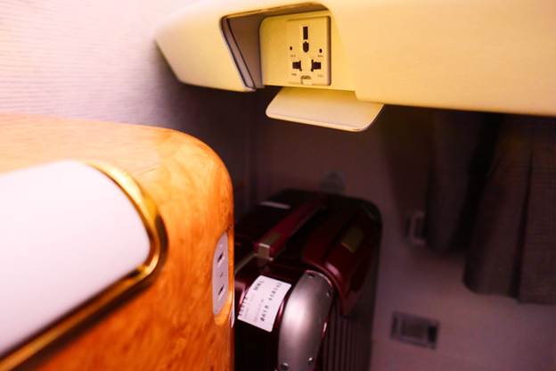 Emirates First Class Power Outlets and Storage Area