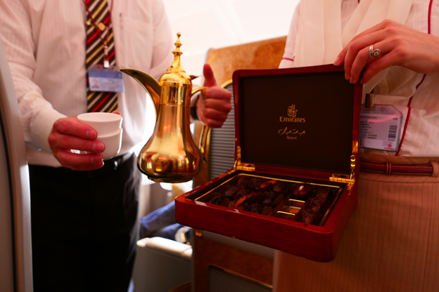 Emirates First Class Coffee and Dates