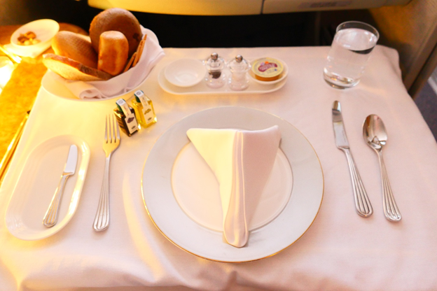 Emirates First Class Table Setting