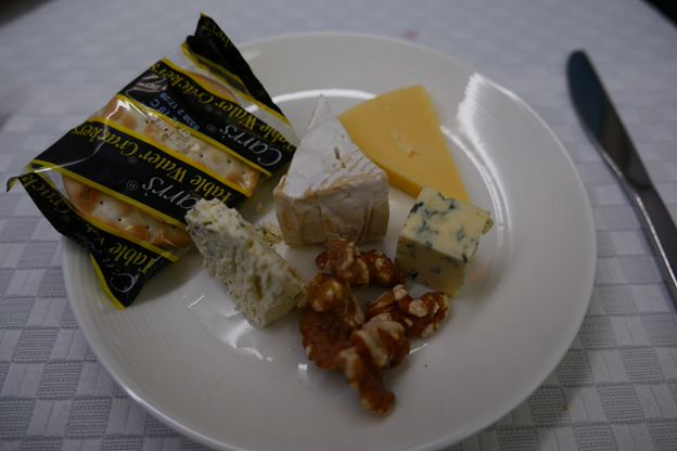 Camembert, Boursin Garlic, Edam and Blue Cheese served with crackers, Dried Apricot and Walnut Fruit
