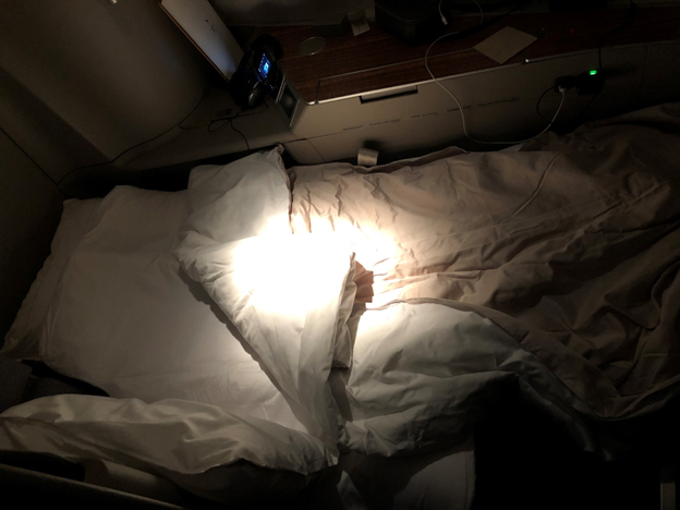 Cathay Pacific First Class Turned down bed