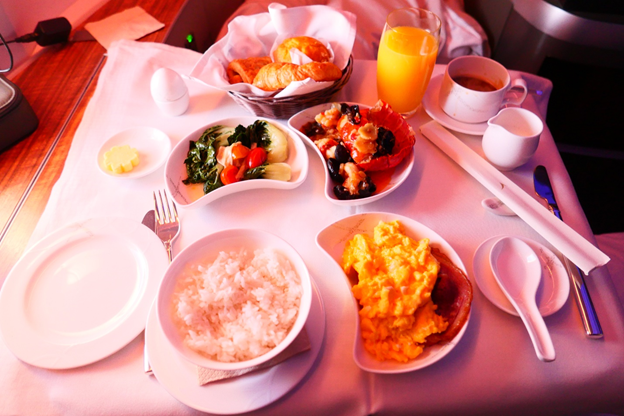 Cathay Pacific First Class Breakfast Meal Service