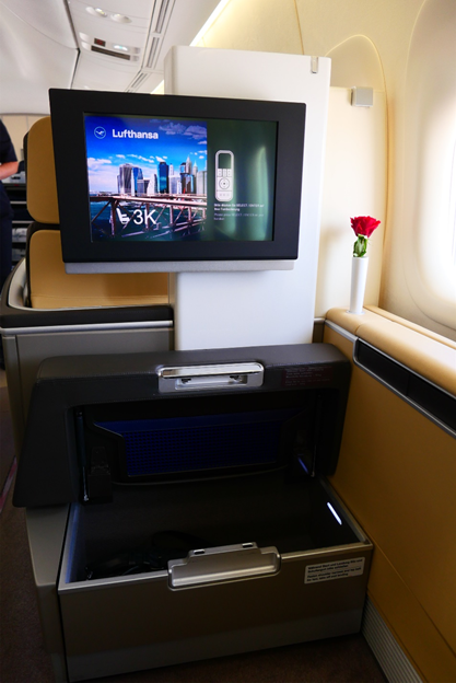 IFE Screen and Foot Cubby Storage Compartment