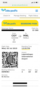 CebPac Boarding Pass