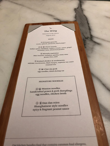 The Wing First Class Lounge, The Haven Menu