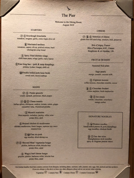 The Pier, The Dining Room Menu