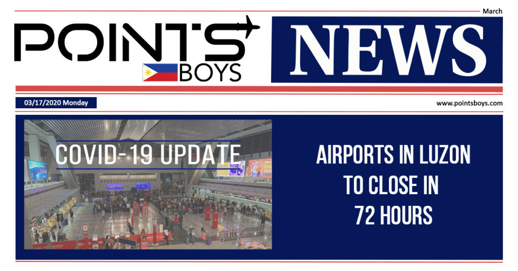 Airports in Luzon to close down in 72 hours